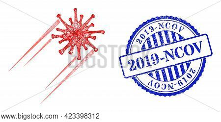 Vector Net Mesh Rush Covid Virus Carcass, And 2019-ncov Blue Rosette Textured Seal Print. Hatched Ca