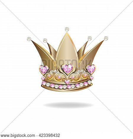 Princess Crown Or Tiara With Pearls And Pink Gems In The Shape Of A Heart Vector Illustration Isolat
