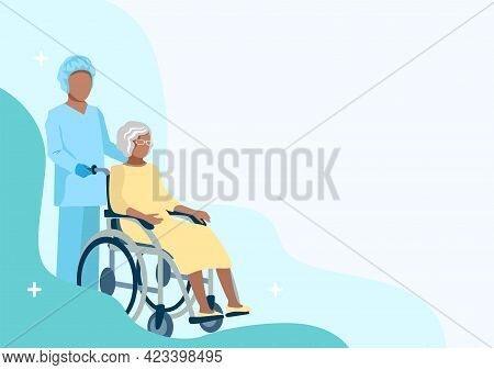 Nurse Caring For The Elderly. Medicine. Thanks To The Nurses. Vector Illustration Template In Flat S