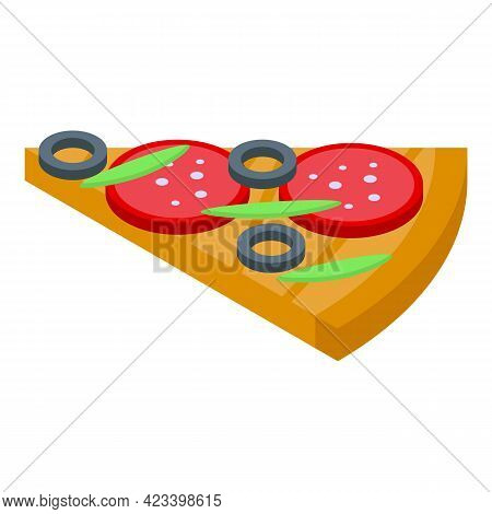 Slice Of Pizza Icon. Isometric Of Slice Of Pizza Vector Icon For Web Design Isolated On White Backgr