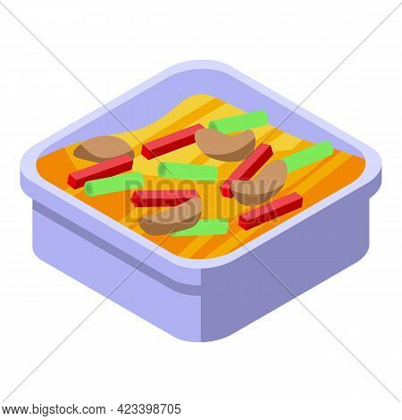 Dinner Box Icon. Isometric Of Dinner Box Vector Icon For Web Design Isolated On White Background