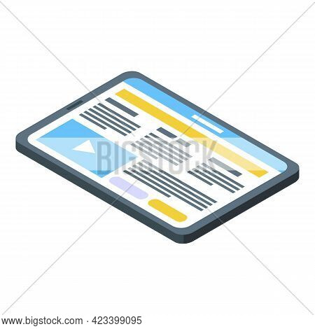 Tablet Icon. Isometric Of Tablet Vector Icon For Web Design Isolated On White Background