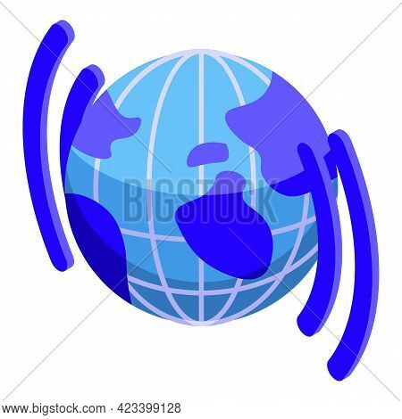 Global Network Icon. Isometric Of Global Network Vector Icon For Web Design Isolated On White Backgr