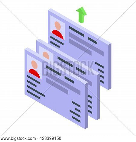 Human Resources Cv Icon. Isometric Of Human Resources Cv Vector Icon For Web Design Isolated On Whit