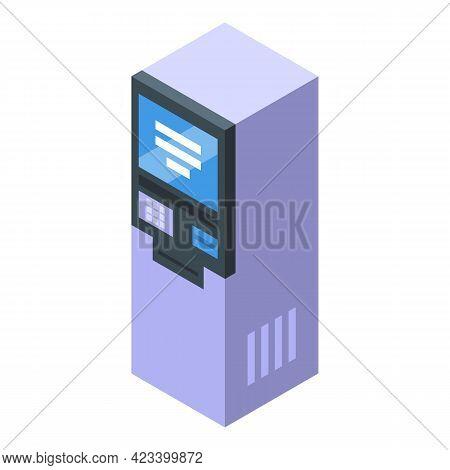 Kiosk Result Money Icon. Isometric Of Kiosk Result Money Vector Icon For Web Design Isolated On Whit