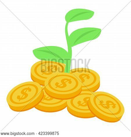 Plant Coin Result Money Icon. Isometric Of Plant Coin Result Money Vector Icon For Web Design Isolat
