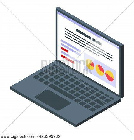 Laptop Result Money Icon. Isometric Of Laptop Result Money Vector Icon For Web Design Isolated On Wh
