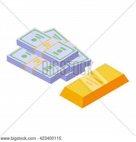 Cash Gold Result Money Icon. Isometric Of Cash Gold Result Money Vector Icon For Web Design Isolated