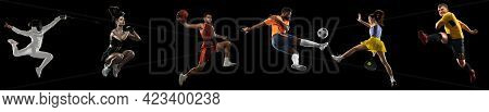 Sportsmen Playing Basketball, Tennis, Soccer Football, Fencing Fitness On Black Background In Mixed