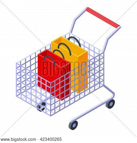 Shop Cart Consumer Rights Icon. Isometric Of Shop Cart Consumer Rights Vector Icon For Web Design Is