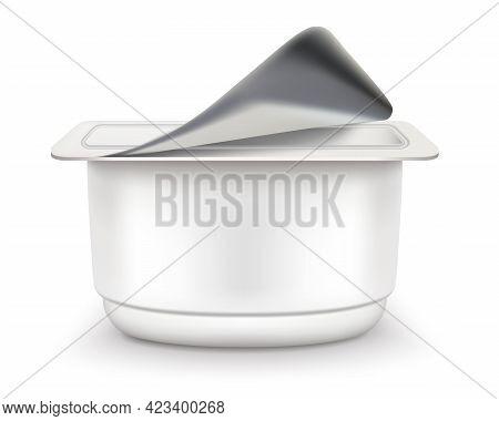 Yogurt Packaging Side View Vector Eps Realistic