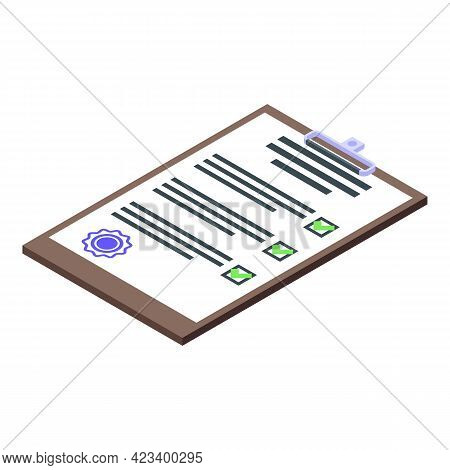 Consumer Rights Checklist Icon. Isometric Of Consumer Rights Checklist Vector Icon For Web Design Is