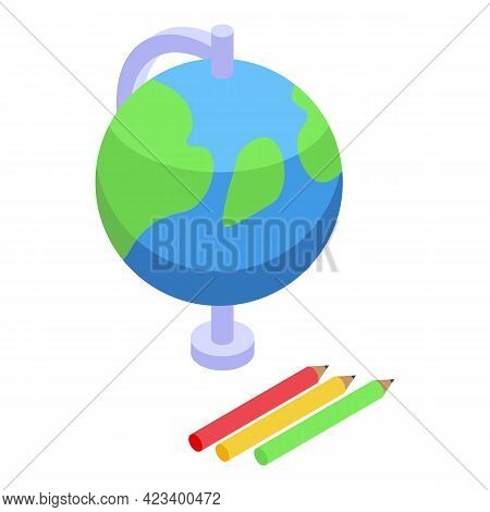 Education Workflow Globe Icon. Isometric Of Education Workflow Globe Vector Icon For Web Design Isol