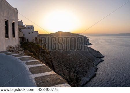 Breathtaking View Over The Aegean Sea At Sunset, Folegandros Island Cyclades, Greece.