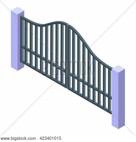 Automatic Metal Gate Icon. Isometric Of Automatic Metal Gate Vector Icon For Web Design Isolated On