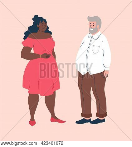 Smiling Male And Female Characters Are Wearing Baggy Clothes To Hide Their Fat On Pink Background. C