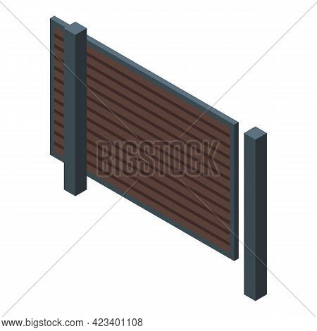 Automatic Gate House Icon. Isometric Of Automatic Gate House Vector Icon For Web Design Isolated On