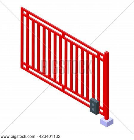 Automatic Gate Steel Icon. Isometric Of Automatic Gate Steel Vector Icon For Web Design Isolated On