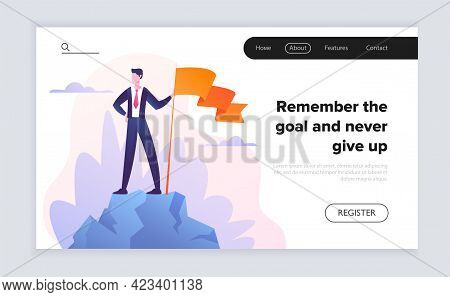 Male Businessman Is Standing In Suit With Orange Flag. Concept Of Business And Financial Motivationa