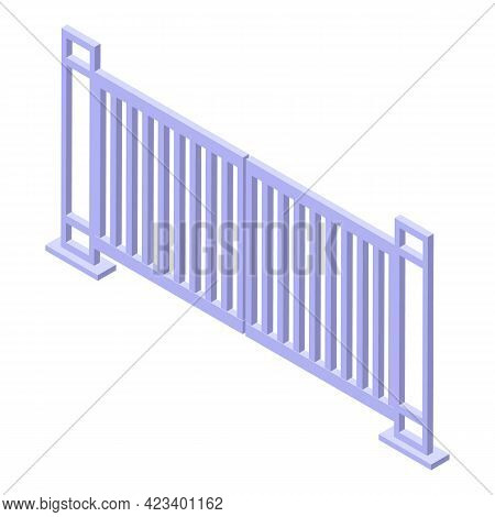 Automatic Gate Factory Icon. Isometric Of Automatic Gate Factory Vector Icon For Web Design Isolated