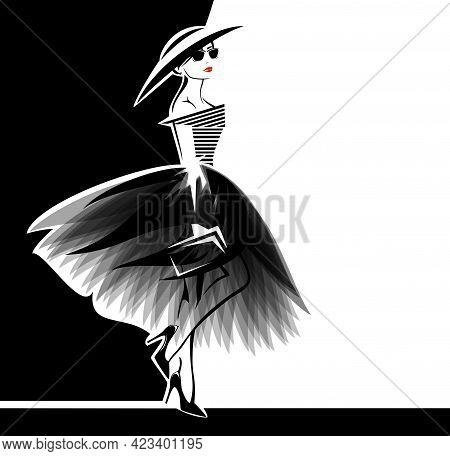 Vector Portrait Of Beautiful Glamorous Woman Wearing Stylish Clothes - Haute Couture Dress, Fashiona