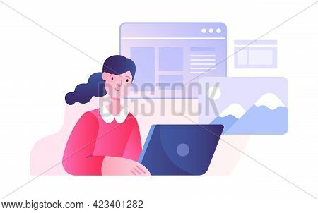 Office Scene With Young Female Character Working On Laptop. Concept Of Men And Women Taking Part In