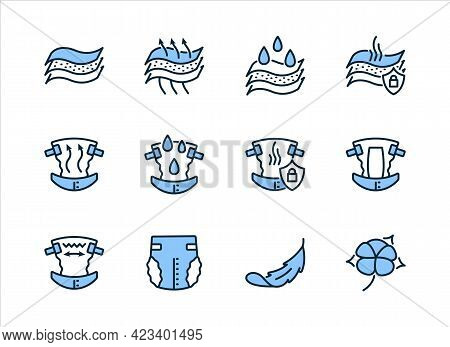 Properties Of Diapers Flat Line Icon Set Blue Color. Vector Illustration Breathability, Moisture Res