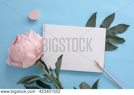 Blank Note Sheet And Pencil On Blue Background With Pink Peony, Blank For To-do List, Summer Wish Li