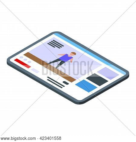 Fitness Blog Tablet Icon. Isometric Of Fitness Blog Tablet Vector Icon For Web Design Isolated On Wh