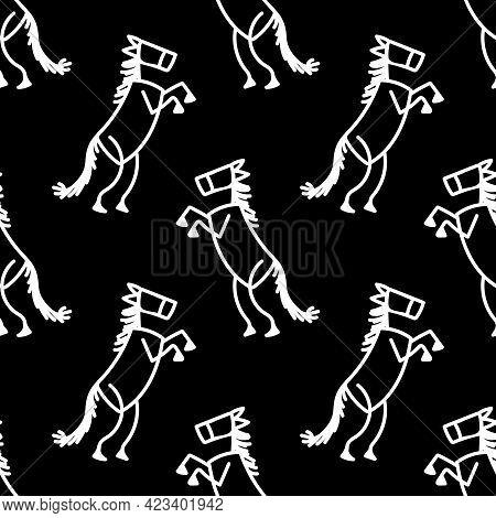 Black And White Drawn Stick Figure Of Cowboy Horse Clip Art. Wild Masculine Stallion For Monochrome