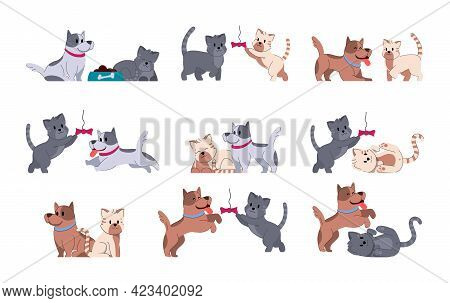 Dog Adorable Fummy Animal. Set Of Cute Puppy Small Friends. Domestic Doggy Character Vector Illustra