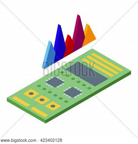 Bitcoin Motherboard Icon. Isometric Of Bitcoin Motherboard Vector Icon For Web Design Isolated On Wh