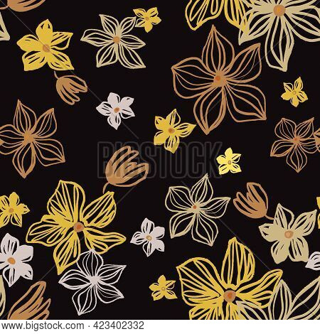 Vector Seamless Pattern With Drawing Yellow, Silver, Gold Flowers. Floral Watercolor Background And