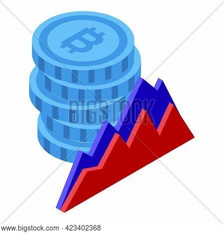 Bitcoin Treasury Graph Icon. Isometric Of Bitcoin Treasury Graph Vector Icon For Web Design Isolated