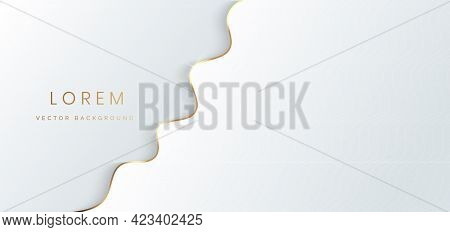Abstract Template White And Grey Layer Luxury Background 3d With Gold Lines Curve. Luxury Style. Vec