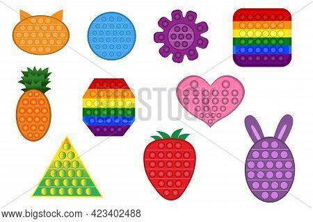 Set Of Trendy Pop It Fidgets. Colorful Antistress Toys, Square Shape, Flower Shape, Circle Figure. H