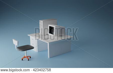 Realistic 3d Rendering Minimal Concept, Desktop Computer On A Table With A Keyboard And Chair White