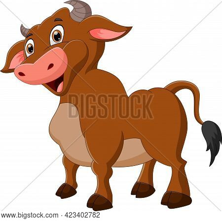 Cute Buffalo Cartoon Posing And Smiling On White Background