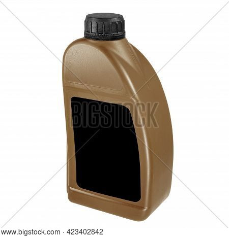 Plastic Canister Isolated On White Background. Close-up Brown Canister With A Black Label And A Blac