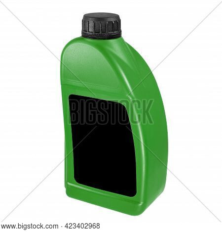 Plastic Canister Isolated On White Background. Close-up Green Canister With A Black Label And A Blac