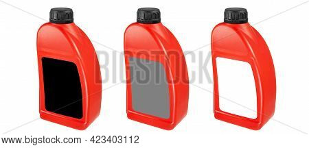 Plastic Canister Set Isolated On White Background. Red Canister With Black, Gray, White Label And Bl