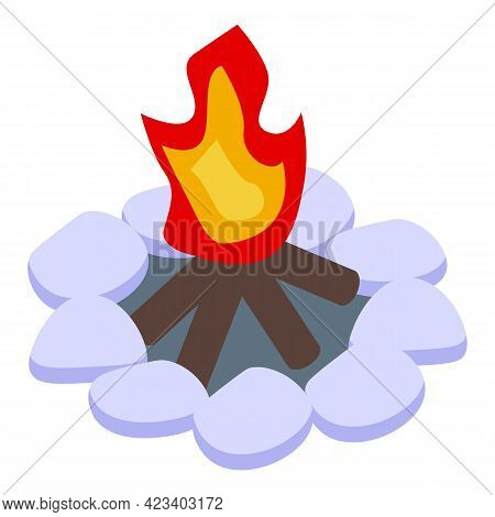 Hike Bonfire Icon. Isometric Of Hike Bonfire Vector Icon For Web Design Isolated On White Background
