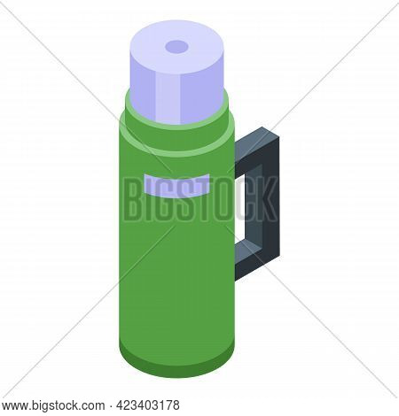 Hike Thermos Bottle Icon. Isometric Of Hike Thermos Bottle Vector Icon For Web Design Isolated On Wh