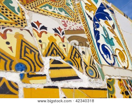 Background of Antonio Gaudi mosaics