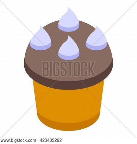 Cupcake Muffin Icon. Isometric Of Cupcake Muffin Vector Icon For Web Design Isolated On White Backgr