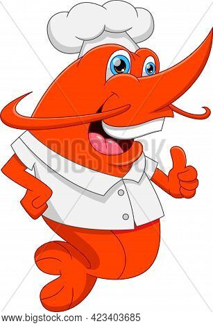 Cartoon Chef Shrimp Thumbs Up On White Background