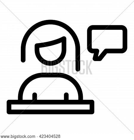 Colleague Woman Icon. Outline Colleague Woman Vector Icon For Web Design Isolated On White Backgroun