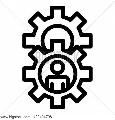 Colleague Gear System Icon. Outline Colleague Gear System Vector Icon For Web Design Isolated On Whi