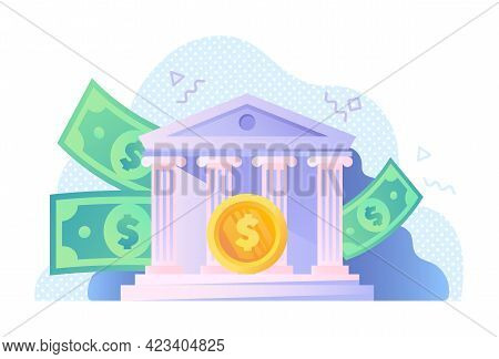 Golden Coin With Bank And Dollar Bills On The Background. Debit Card Payment. Concept Of Money Savin