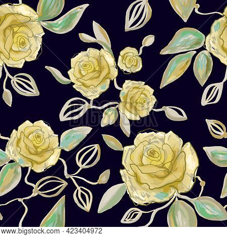 Hand Drawn Watercolor And Line Art Floral Seamless Pattern With Tender Yellow Peonies, Roses, Rhodod